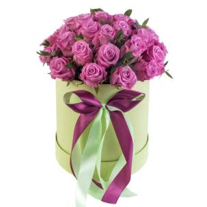 """Цветы в коробке """"Малиновое пироженное"""""""